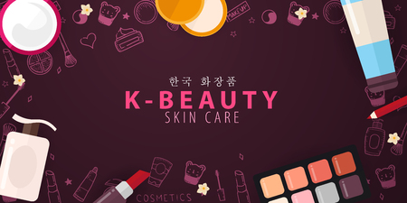 Korean flat cosmetics. K-Beauty banner with hand draw doodle background. Skincare and Makeup. Vector Illustration