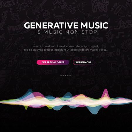 Generative Music. Music created by AI. Vector Illustration.