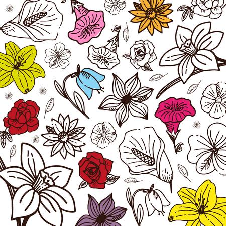 Sketches of flowers on a white background. Floral banner. Vector illustration Ilustração