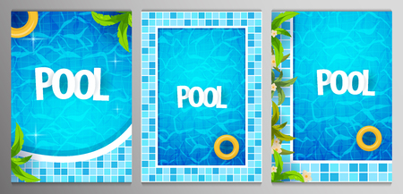 Set of Summer pool party posters template. Water and palms, inflatable yellow mattress. Vector illustration