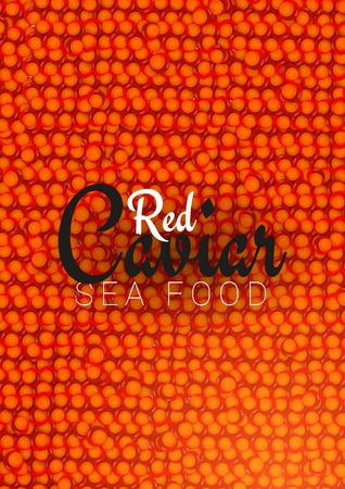 Red Caviar banner. Delicious seafood background. Caviar vector illustration. Natural and healthy luxury food. Design for fish menu. Vector Illustration Ilustração