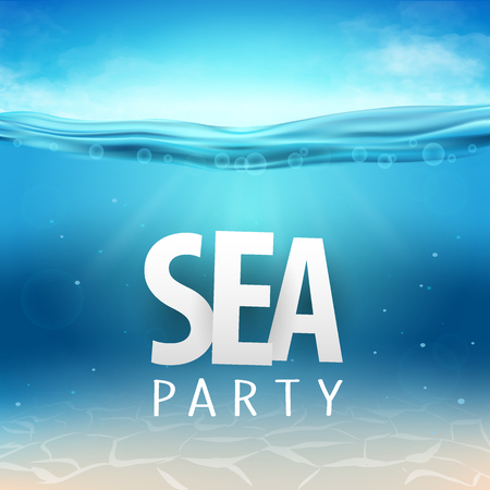 Summer sea party, sale posters. Vector illustration with deep underwater ocean scene. Background with realistic clouds and palms Иллюстрация