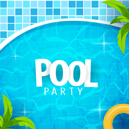Summer pool party poster template. Water and palms, inflatable yellow mattress. Vector illustration