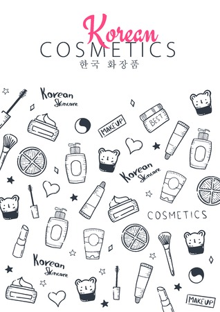 Korean cosmetics. K-Beauty banner with hand draw doodle background. Skincare and Makeup. Translation - Korean Cosmetics. Vector Illustration