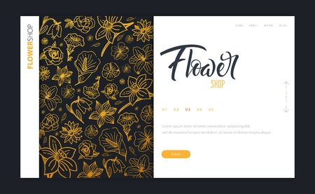 Web page design template for Flower Shop or Floristic. Modern design vector illustration concept for website and UI or UX.