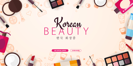 Korean flat cosmetics. K-Beauty banner with hand draw doodle background. Skincare and Makeup. Translation - Korean Cosmetics. Vector Illustration