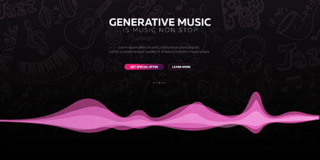 Generative Music. Music created by AI. Vector Illustration