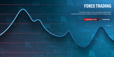 Forex Trading Signals. Candlestick chart in financial market. Vector illustration.