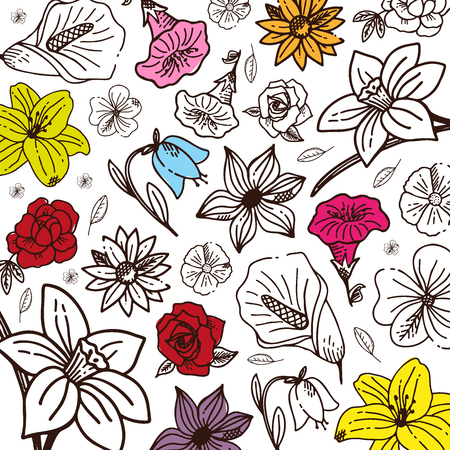 Sketches of flowers on a white background. Floral banner. Vector illustration Ilustracja