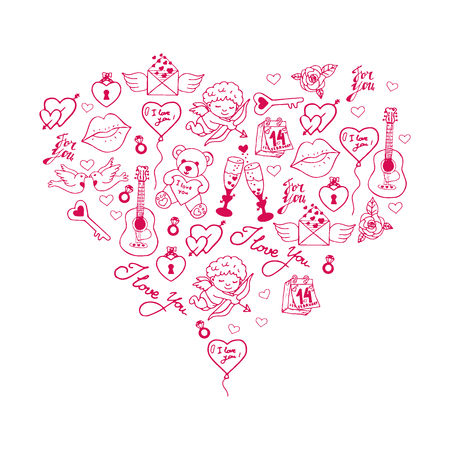 Valentines Day banner with doodle background. 14 February. Vector Illustration