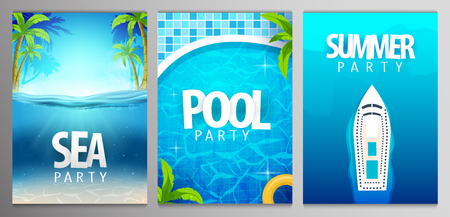 Summer posters. Sea, pool and summer party. Vector illustration with deep underwater ocean scene