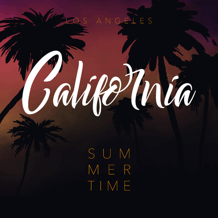 California. Summer tropical background with palms, sky and sunset. Summer Time Ilustrace
