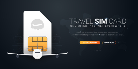 Travel Sim Card. Technology concept. Vector Illustration