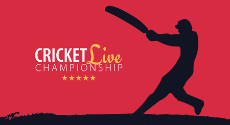 Cricket Championship banner or poster, design with players and bats. Vector illustration