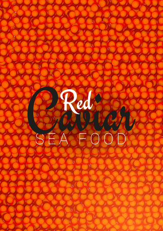 Red Caviar banner. Delicious seafood background. Caviar vector illustration. Natural and healthy luxury food. Design for fish menu. Vector Illustration Banco de Imagens - 122687427