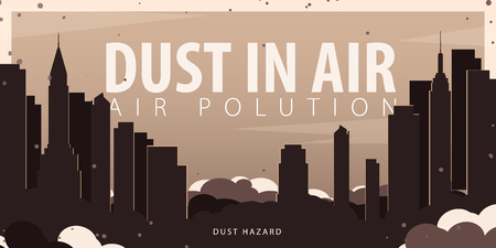 Dust in Air. Dust hazard. Polluted air in City. Vector Illustration Stockfoto - 122687428