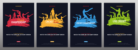 Cricket Championship banner or poster, design with players and bats. Vector illustration Illustration