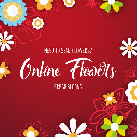 Flat flowers on a sketches background. Floral banner. Vector illustration.