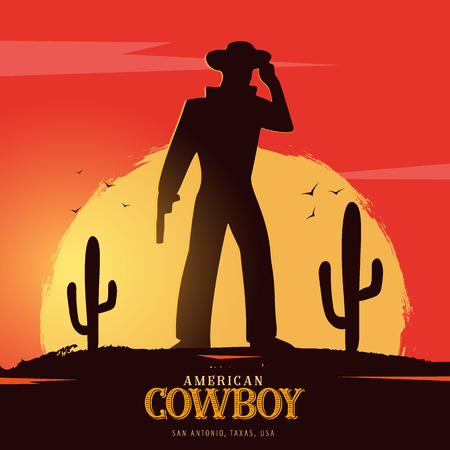 Cowboy banner. Wild West and Rodeo with horse. Texas. Vector illustration