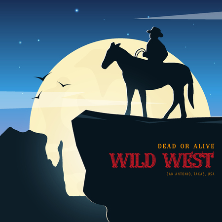 Cowboy banner. Wild West and Rodeo with horse. Texas. Vector illustration. Illustration