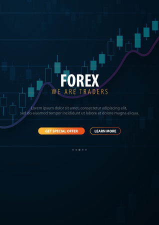 Forex Trading Signals. Candlestick chart in financial market. Vector illustration