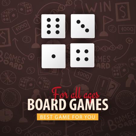 Board Games banner with dices. Hand draw doodle background. Vector illustration. Ilustração