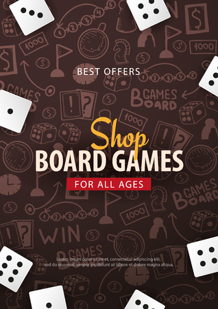 Board Games banner with dice,  playing cards and map. Hand draw doodle background. Vector illustration.