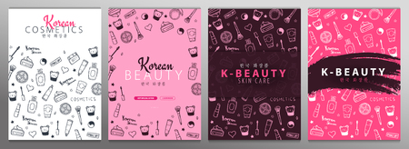 Korean cosmetics. Set of K-Beauty banners with hand draw doodle backgrounds. Skincare and Makeup. Translation - Korean Cosmetics. Vector Illustration