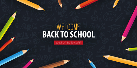Back to School banner with colour pencils and hand draw doodle backgrounds. Vector illustration.