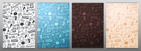 Board Games hand draw doodle background. Vector Illustration