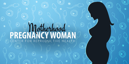Pregnancy woman banner. In vitro fertilization. Artificial insemination. Hand draw sketch background with moving spermatozoons and female egg.