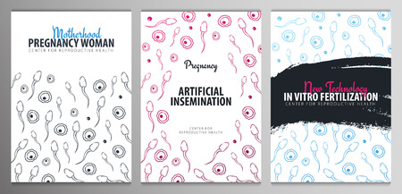 Set of Pregnancy banners. In vitro fertilization. Artificial insemination. Hand draw sketch background with moving spermatozoons and female egg. Illustration