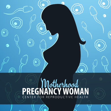 Pregnancy woman banner. In vitro fertilization. Artificial insemination. Hand draw sketch background with moving spermatozoons and female egg. Vectores