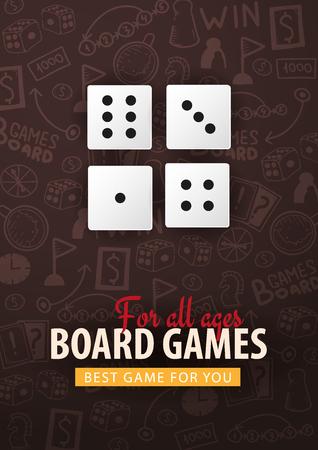 Board Games banner with dices. Hand draw doodle background. Vector illustration Ilustração