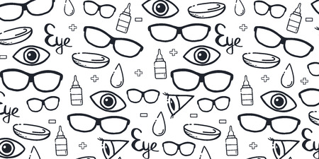 Banner for Optical Shop or Glasses clinic. Hand draw doodle background.