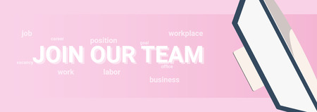 We are hiring and work searches. Banner with computer