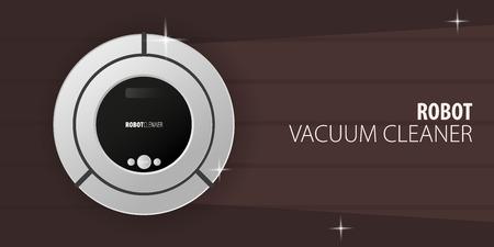 Robot vacuum cleaner on wooden floor. Smart Technologies. Stock Vector - 124867451