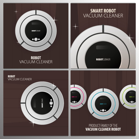 Set of banners Robot vacuum cleaner on wooden floor. Smart Technologies.