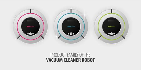 Robot vacuum cleaner on white floor. Smart Technologies.