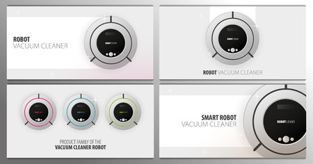 Set of banners Robot vacuum cleaner on white floor. Smart Technologies. 일러스트