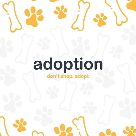 Adoption. Dont Shop Adopt. Banner with cat or dog paws. Hand draw doodle background.