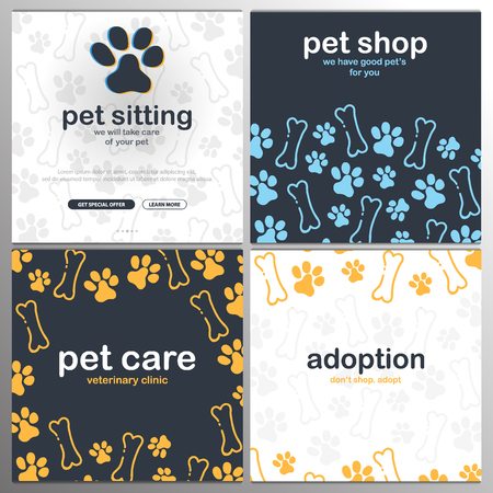 Pet shop, Care, Pet sitting. Adoption. Home animals. Banner with cat or dog paws. Hand draw doodle background. Illustration