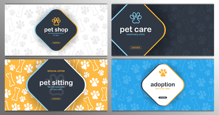 Pet shop, Care, Pet sitting. Adoption. Home animals. Banner with cat or dog paws. Hand draw doodle background. Illusztráció