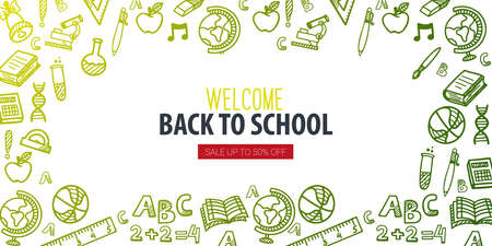 Back to School banner with hand draw doodle background. Vector illustration. Illusztráció