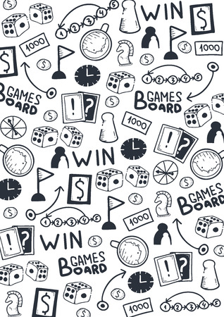 Board Games hand draw doodle background. Vector Illustration. 스톡 콘텐츠 - 152897493