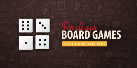 Board Games banner with dices. Hand draw doodle background. Vector illustration. Illusztráció