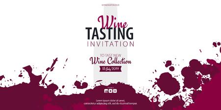 Cata de vinos. Plantilla para promociones o presentaciones de eventos vitivinícolas. Ilustración de vector