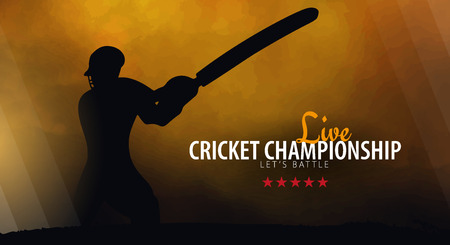 Cricket Championship banner or poster, design with players and bats. Vector illustration 矢量图像