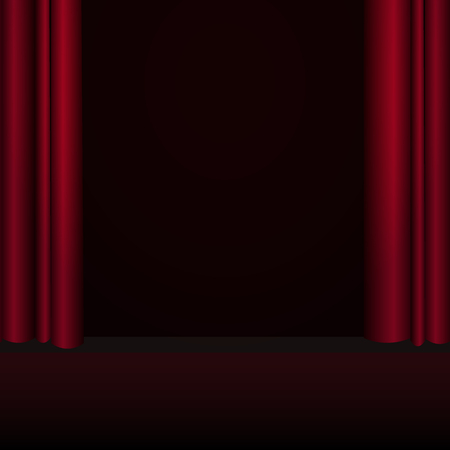 Red curtains stage, theater or opera background with spotlight. Illustration