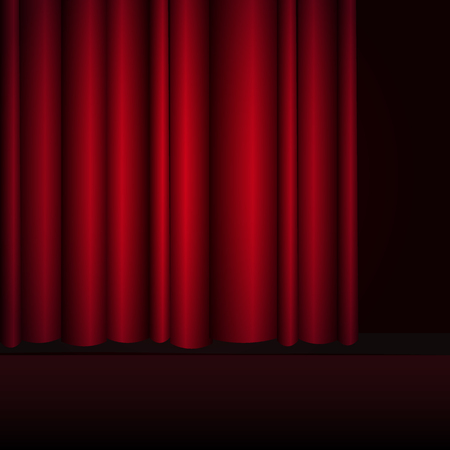 Red curtains stage, theater or opera background with spotlight. 向量圖像